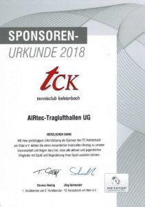 Urkunde - Sponsoren TCK