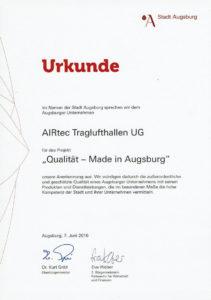 Urkunde - Stadt Augsburg
